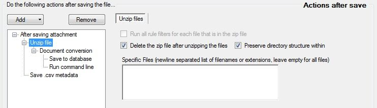 automate email actions: unzip_files