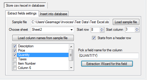 Csv to db - field name