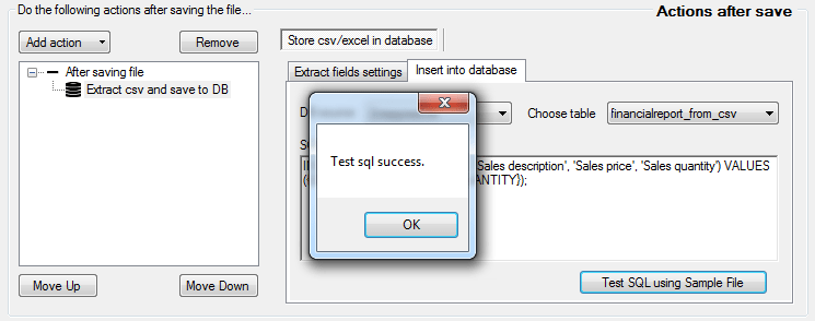 csv to db - success