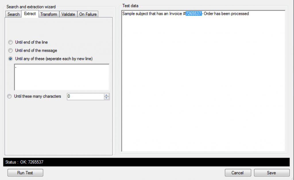 extract data - extract tab