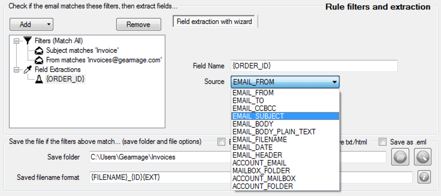extract data - select source