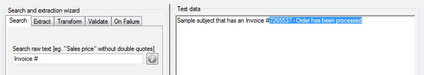 extract data - specify Search text
