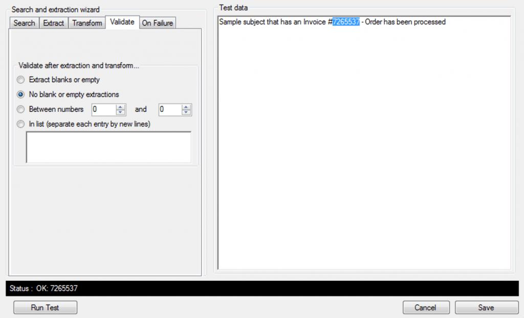 extract data - validate data